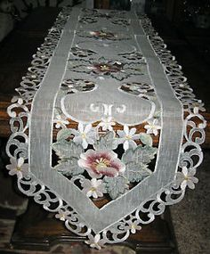 Table Scarves And Doilies Rose Fl Embroidered Organza Runner