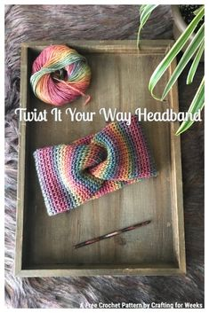 Twist It Your Way Headband: A Free Crochet Pattern. This knit-look ear warmer features the waistcoat stitch and is adjustable to fit most sizes. - Crafting for Weeks Crochet Headband Pattern, Knitted Headband, Crochet Hooks, Crochet Patterns, Crochet Headbands, Baby Headbands, Crochet Ideas, Crochet Organizer, Crocheted Hats