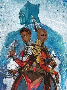 Black Panther Dora Milaje art Nakia and Okoye Black Panther Marvel, Black Panther Character, Black Panther 2018, Marvel Dc Comics, Marvel Heroes, Marvel Cinematic, Marvel Avengers, Black Characters, Comic Book Characters