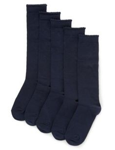 5 Pairs of Cotton Rich Knee High School Socks | M&S