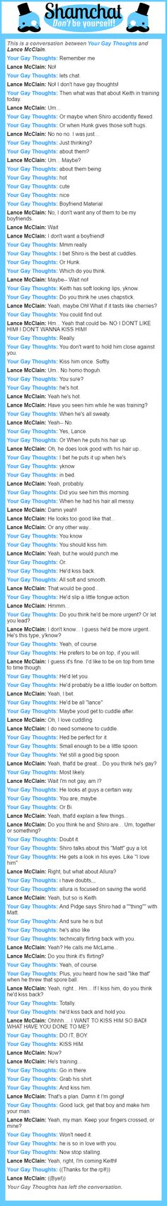 A conversation between Lance McClain and His Gay Thoughts Form Voltron, Voltron Ships, Voltron Klance, Gay Cuddles, Cuddling, Klance Fanart, Lance Mcclain, Cute Gay, Shiro