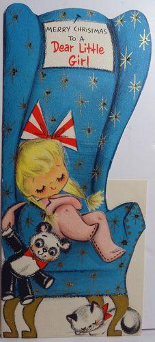 Merry Christmas To A Dear Little Girl - 1950s Hallmark Christmas Card