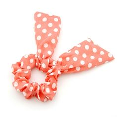 Pink Dotted Bow Scrunchies