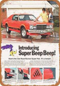 Plymouth Road Runner Super Pak Plymouth Road Runner Super Pak - 1977 Dodge Aspen R/T Super Pak Vintage Look Metal Sign 1974 Dodge Dart Sport Rallye 1977 Chevrolet Camaro 4 Barrel Warner 4 Plymouth Road Runner, Camaro Z, Chevrolet Camaro, Chevy, 1970 Chevelle, Rat Rods, Vintage Advertisements, Vintage Ads, Vintage Photos