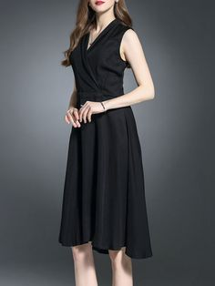 Shop Black Cotton Plain Sleeveless Midi Dress Online. The world's most-coveted and unique  designer apparel - Sexyplus everyday.