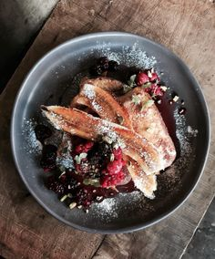 Lazy Sundays.. best breakfast. Brioche french toast with caramelized banana, berry compote, honey & pistachios! @ilmelogranomelbourne