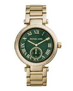 4e2a80da7e443 Michael Kors Mid-Size Golden Stainless Steel Skylar Three-Hand Glitz Watch
