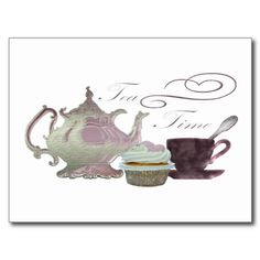 Tea Time Pink Cupcake Hearts Art Postcard