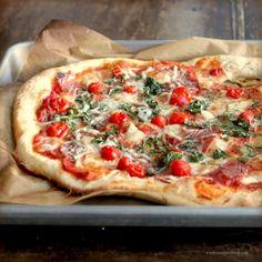 Cherry Tomato, Coppa and Arugula Pizza