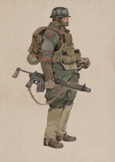 ArtStation - soldier, yuanyuan L Armor Concept, Weapon Concept Art, Character Concept, Character Art, Guerra Anime, Horror, Armadura Medieval, Arte Cyberpunk, Alternate History