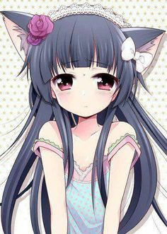 Anime girl with kitty ears and black hair with roses and a bow in her hair #Anime