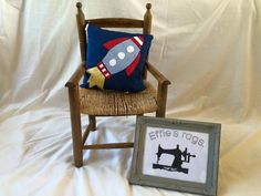 homemade rocket detail cushion by EffiesRags on Etsy