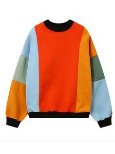9c2d6515fa1d1 Women Casual Multi-color Stitching Long Sleeve Sweatshirt can show the  feminine elegance well, get best women Hoodies & Sweatshirts online Mobile.
