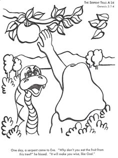 Learn Bible Stories With The Serpent Tells A Lie Coloring Page
