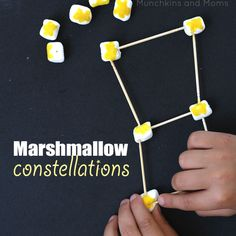 Creating constellations using marshmallows and toothpicks is a great beginning astronomy lesson for preschoolers!