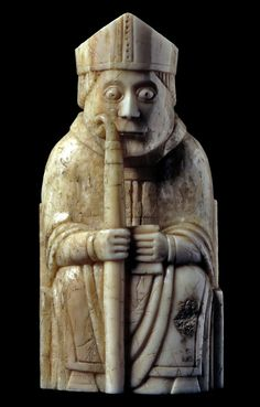 12th century chess piece carved from walrus ivory and whales teeth, probably made by Viking craftsmen originating in Trondheim, Norway. #HighMiddleAges #AntiqueChess