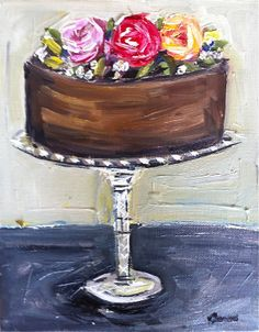 Cake Painting on Canvas with Roses by DevinePaintings on Etsy, $88.00
