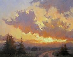 "Sunset Splendor 9""x12"" oil landscape      I have started placing paintings on EBay with a bid starting at 99 cents. This is the first sun..."