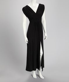 Take a look at this Black V-Neck Maxi Dress on zulily today!