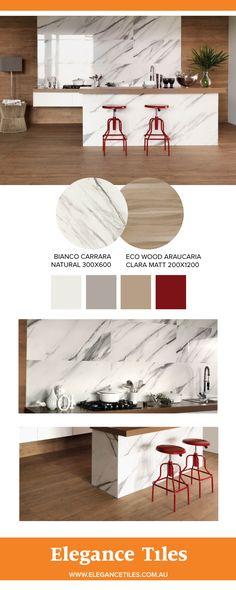 Portobello Carrara marble tile and Eco Wood wood - look tiles
