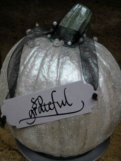 A glittery, pedestal pumpkin made from odds and ends and thrift shop items. Pedestal Stand, Holiday Boutique, Glitter Pumpkins, Upcycle, Thanksgiving, Cool Stuff, Thrift, Birthday, Pretty