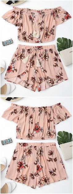Women's 2 Two Piece Floral Shorts Top Summer Set This Women's 2 Two Piece Floral Shorts Top Summer Set features an off the shoulder top with a tassel tie collar, ruffle embellished hem, and cropped short sleeve top.