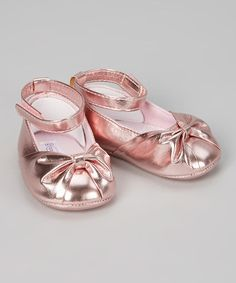 Look at this #zulilyfind! Metallic Pink Ankle-Strap Flat by Tender Toes #zulilyfinds