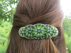 "Shared Treasures Boutique - 4"" Beaded Barrette / Hair Clip - Green -  Handmade in Guatemala, $16.00 (http://www.sharedtreasuresboutique.com/4-beaded-barrette-hair-clip-green-handmade-in-guatemala/)"