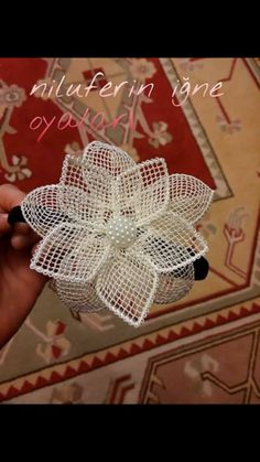 This Pin was discovered by Neş Jute Flowers, Nylon Flowers, Crochet Flowers, Fabric Flowers, Diy Flowers, Leaf Crafts, Burlap Crafts, Diy And Crafts, Crochet Coaster Pattern