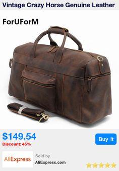 7c53603321da Vintage Crazy Horse Genuine Leather Travel bag men duffle bag luggage  travel bag Leather Large Weekend Bag tote Big   Pub Date  Jul 11 2017
