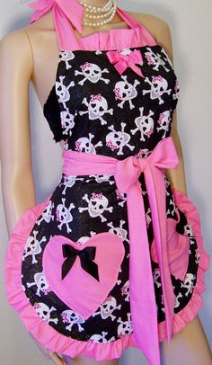 FREE SHIPPING, PLUS Size Sugar Skull Heart Apron with Glitter Fabric. $65.00, via Etsy.