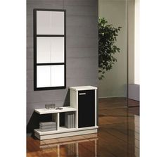 Mueble recibidor moderno compuesto de dos piezas, perfecto para espacios reducidos