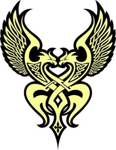 Raven and eagle Celtic sign.