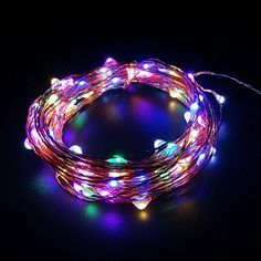 Litup RGB Led String Lights 100 Leds 33ft Led Copper Wire Starry String with Multiple Colors Power Adapter for Party Wedding Christmas DecorationRGB Led String -- Click on the image for additional details.