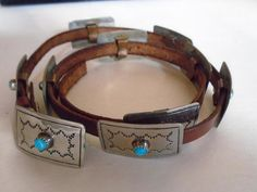 Vintage Silver Tone Turquoise Concha Western Native American Cowboy Hat Band