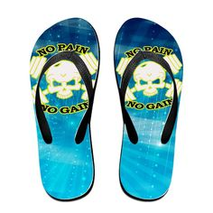 Shehe No Pain No Gain Gym Skull Unisex Fashion Beach Flip-flops Slippers Black >>> Check out this great product.