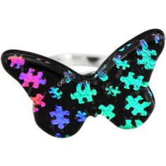 Dichroic Glass Puzzle Piece Butterfly Adjustable Ring at The Animal Rescue Site