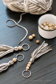 Boho Yarn and Wood Bead Tassel | personallyandrea.com #craft #bohochic #accessory