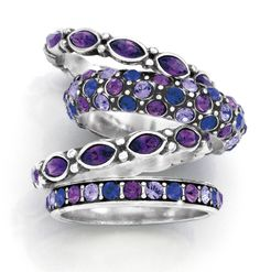 Stackable rings in lovely shades of purple and blue Purple Love, All Things Purple, Shades Of Purple, Purple Stuff, Jewelry Box, Jewelry Accessories, Do It Yourself Jewelry, Brighton Jewelry, Brighton Rings