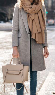 grey beige combo. the coat. #neutral #streetstyle #fallfashion