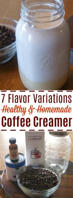 This easy coffee creamer recipe can be spiced up with 7 different variations! Super easy to make your own!