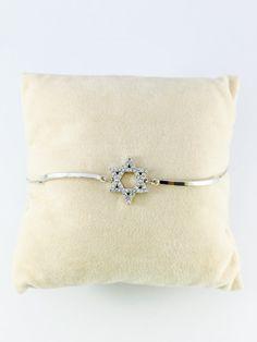 Star of David Bracelet, CZ Star of David, Dainty Jewish Star Bracelet, White Gold, Magen David bracelet, Jewish Jewelry