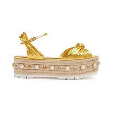 Gucci Pearl-embellished leather platform sandals (37,420 THB) ❤ liked on Polyvore featuring shoes, sandals, gold, flatform espadrille sandals, summer sandals, platform espadrilles, platform shoes and leather flatform sandals