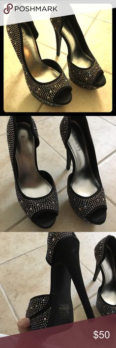 Bakers black and rhinestone stilettos These are almost brand new and worn around the house literally never wore these babies out!!! They are missing a few rhinestones as pictured. Bakers Shoes Heels