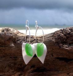 Hawaiian Emerald Green Beach Glass with Geometric White Gooseneck Barnacle Shells on Silver Plated Circular Wire Small Hoop Earrings by LindseysBeachGlass, $31.00