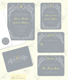 Woodland Border Grey and Yellow Wedding Invitation Suite by Stacy Claire Boyd #rustic