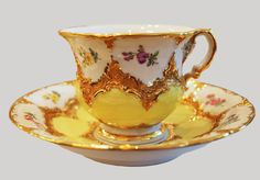 Vintage Meissen Yellow  Gold Tea Coffee Cups Set of 4