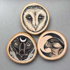 Tattoo Inspired Drawings on Wooden Slices