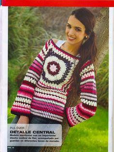 Sueter al crochet multicolor con detalle central importante