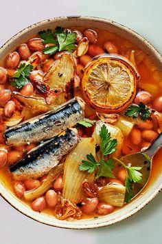 Bean Recipes, Fish Recipes, Seafood Recipes, Healthy Recipes, Summer Savory, Sardine Recipes, Eating Light, Feel Good Food, Dinners